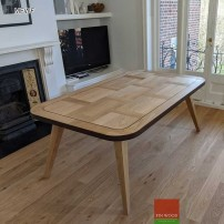 Dining table made from engineered oak parquet - furniture elements