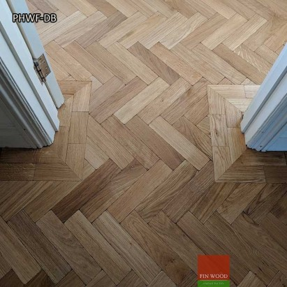 Parquet Herringbone wood flooring with double border by Fin Wood Ltd #CraftedForLife