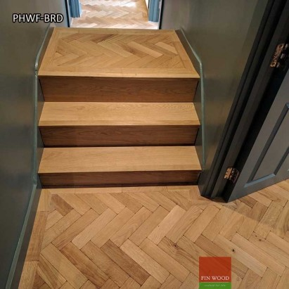 Parquet Herringbone wood flooring with border by Fin Wood Ltd London #CraftedForLife