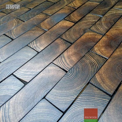 End Grain - Rectangular end grain flooring fitting hand bevelled natural
