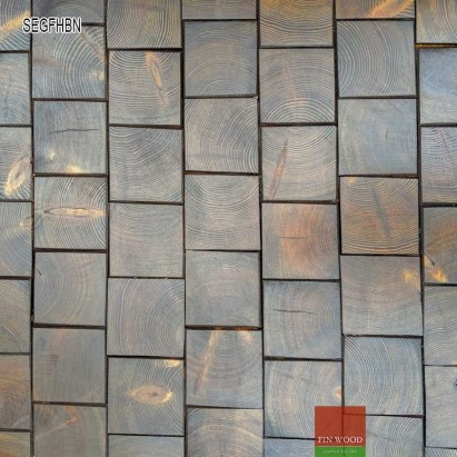 End Grain - Square end grain flooring fitting hand bevelled natural