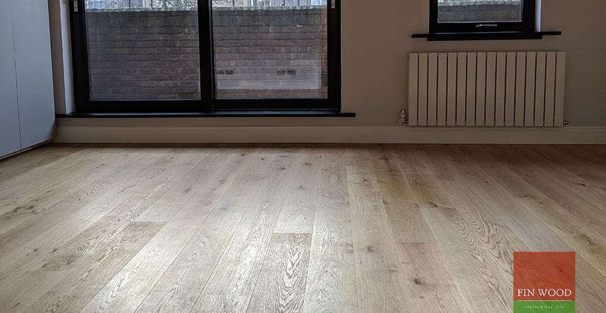Engineered oak wood flooring fitted in award winning eco apartment in Kensington, W8