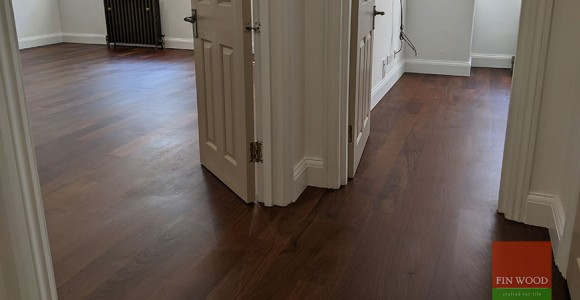 Rich, dark Brazillian Ipe Walnut wood in Kensington flat London SW5