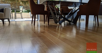 Premium quarter sawn oak replaces flood soaked tiles in large family home in Wimbledon village, SW19