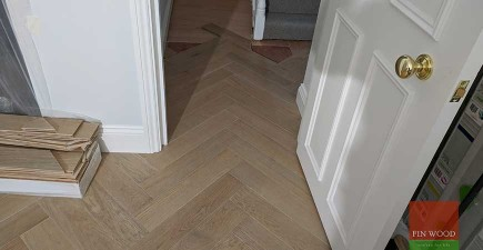 Herringbone Parquet Replaces New Carpet and Transforms Home #CraftedForLife