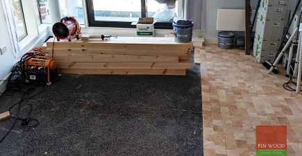 Pine end grain block wooden floor brings a scandinavian look to Tower Bridge, E1 #CraftedForLife