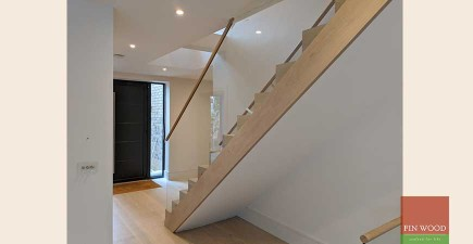 Beautifully precise oak stair cladding completes modern rebuild in Wimbledon village, SW19 #CraftedForLife