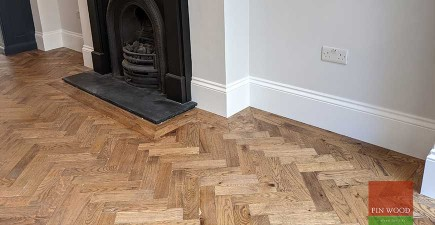 Herringbone parquet with a double row border becomes an instant classic feature in elegant Georgian town house, West Greenwich #CraftedForLife