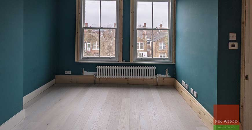 White washed engineered oak and period woodwork provides a fresh new look for Victorian flat, Tooting Common SW17 #CraftedForLife