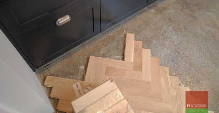 Oak Herringbone Parquet Installation custom finished with white oil in SE22 Dulwich, London