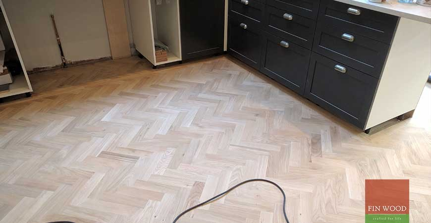 Oak Herringbone Parquet Installation custom finished with white oil in SE22 Dulwich, London  #CraftedForLife