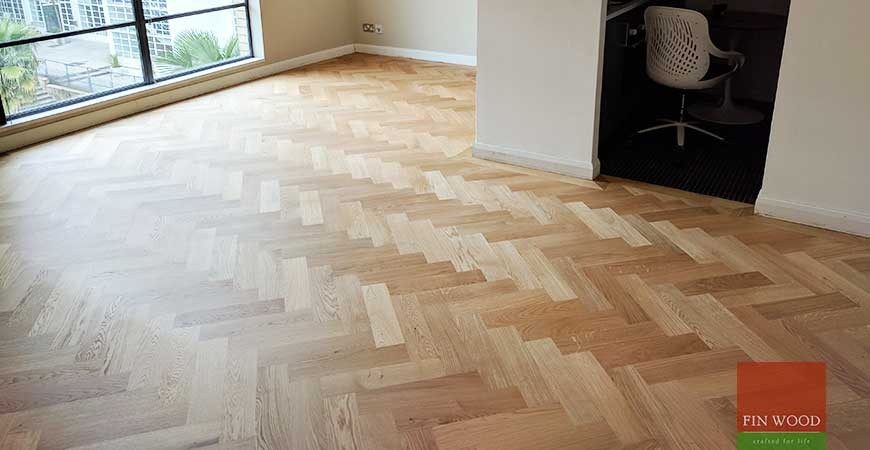 Herringbone Parquet Natural Oak with a single border in SE1 Bermondsey #CraftedForLife